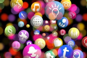 social media icons in floating bubles