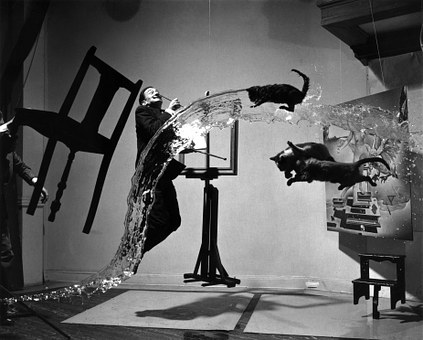 Salvador Dali floating chair flying cats and water