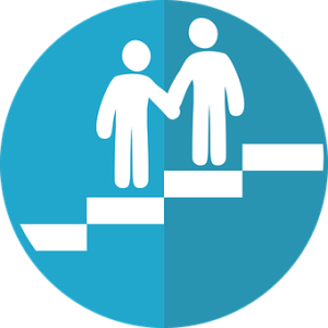 graphic with one person helping another up steps