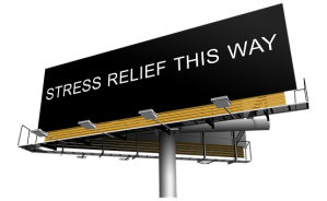 stress relief this way sign